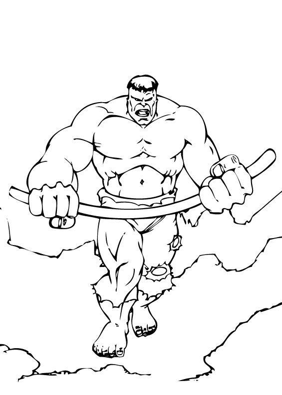 Dibujos para colorear los músculos de hulk - es.hellokids.com