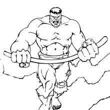 Hulk con un palo de hierro - Dibujos para Colorear y Pintar - Dibujos para colorear SUPERHEROES - Hulk para colorear