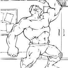 Hulk destroza un techo - Dibujos para Colorear y Pintar - Dibujos para colorear SUPERHEROES - Hulk para colorear