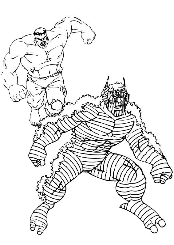 Dibujos para colorear hulk persigue a abominación - es.hellokids.com
