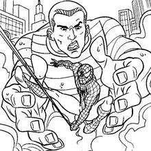 Dibujo para colorear : Spiderman en las manos del hombre de arena