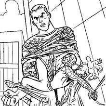 dibujo para pintar hombre de arena atado - Dibujos para Colorear y Pintar - Dibujos para colorear SUPERHEROES - Dibujos para colorear SPIDERMAN - Dibujos para colorear HOMBRE ARENA