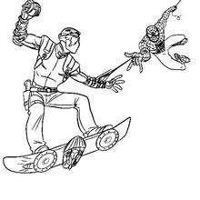 Dibujo para colorear : Spiderman contra el Duende verde