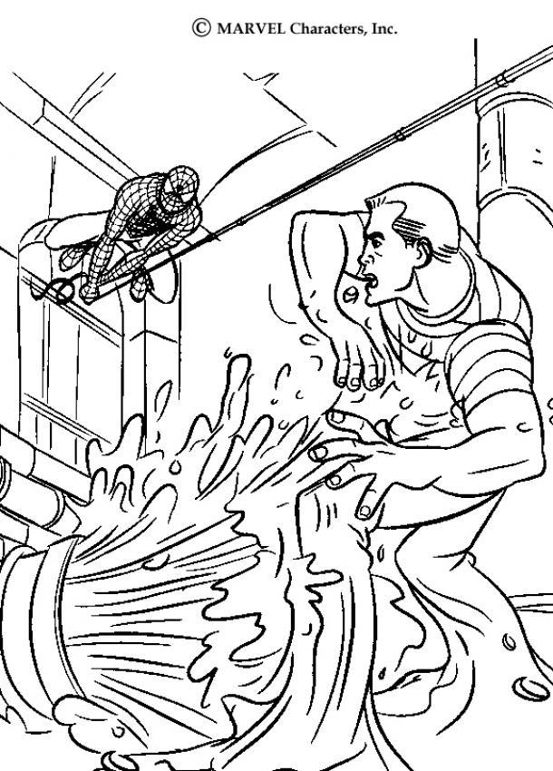Dibujo para colorear : batalla de Spiderman