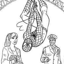 Dibujo para colorear : Spiderman con las llaves de la ciudad