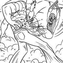 Dibujo para colorear : Spiderman contra el Hombre arena