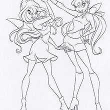 Colorear a Bloom y Stella de las Winx - Dibujos para Colorear y Pintar - Dibujos para colorear PERSONAJES - PERSONAJES TV para colorear - Las Winx para colorear
