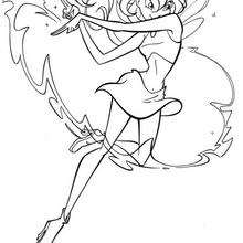 Dibujo para colorear : Bloom con su vestido de hada Winx