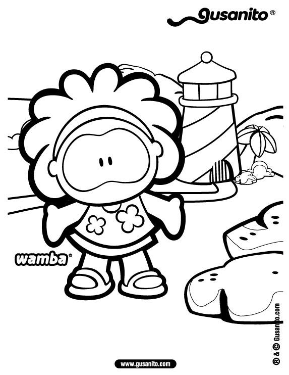 Dibujo para colorear : Wamba a la playa
