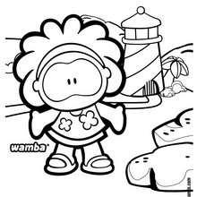 dibujo de Wamba a la playa - Dibujos para Colorear y Pintar - Dibujos para colorear PERSONAJES - PERSONAJES COMIC para colorear - Dibujos para colorear GUSANITO - Dibujos para pintar WAMBA
