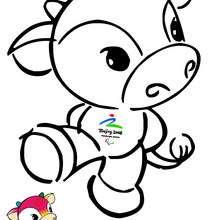 Fu Niu Lele mascota - Dibujos para Colorear y Pintar - Dibujos para colorear DEPORTES - Dibujos JUEGOS OLIMPICOS para colorear - MASCOTAS OLIMPICAS para colorear