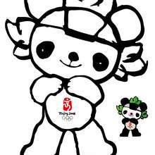 Jingjing mascota - Dibujos para Colorear y Pintar - Dibujos para colorear DEPORTES - Dibujos JUEGOS OLIMPICOS para colorear - MASCOTAS OLIMPICAS para colorear