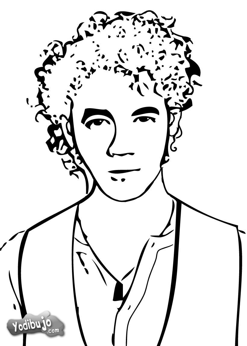 Kevin Jonas retrato para colorear