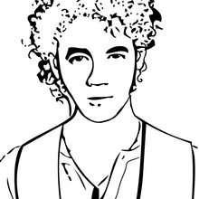 Kevin Jonas retrato para colorear - Dibujos para Colorear y Pintar - Dibujos para colorear FAMOSOS - JONAS BROTHERS para colorear - KEVIN JONAS para colorear