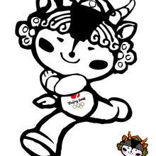 Yingying mascota - Dibujos para Colorear y Pintar - Dibujos para colorear DEPORTES - Dibujos JUEGOS OLIMPICOS para colorear - MASCOTAS OLIMPICAS para colorear