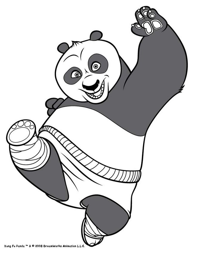 Po el oso panda - Dibujos para colorear PO KUNG FU PANDA