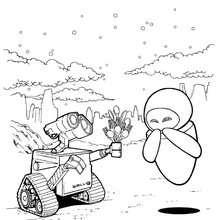 Dibujo para colorear : Wall-e y Eva