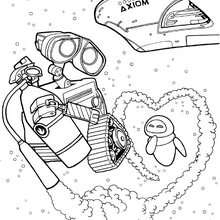 Dibujo para colorear : Wall-e y Eva en el espacio