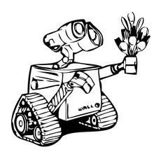 Wall-e obsequiendo flores a Eva - Dibujos para Colorear y Pintar - Dibujos DISNEY para colorear - Dibujos para colorear PERSONAJES DISNEY - Dibujos para colorear WALL-E