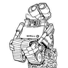 Wall-e soñando - Dibujos para Colorear y Pintar - Dibujos DISNEY para colorear - Dibujos para colorear PERSONAJES DISNEY - Dibujos para colorear WALL-E