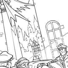 Batman apoyando a los policias - Dibujos para Colorear y Pintar - Dibujos para colorear SUPERHEROES - Dibujos para colorear BATMAN - Dibujos para colorear PERSONAJES DE BATMAN