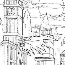 Dibujo para colorear : Batman vigilando la ciudad de Gotham