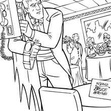 Dibujo para colorear : BRuce Wayne quitando su vestido de Batman