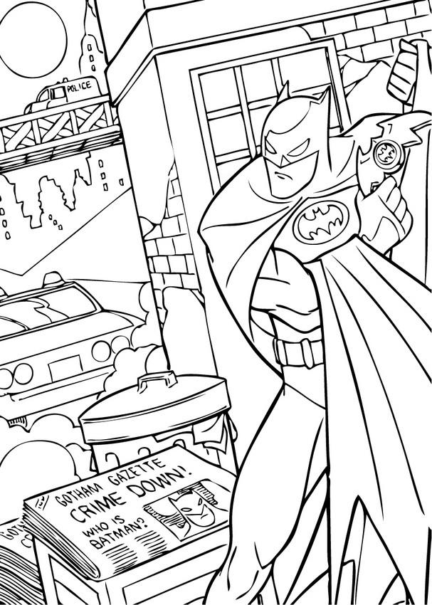 Dibujos para colorear batman escondiéndose - es.hellokids.com