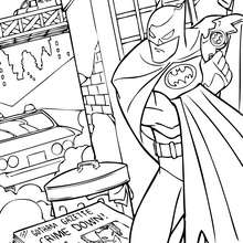 Dibujo para colorear : Batman escondiéndose