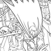 Dibujo para colorear : Batman en los desagües