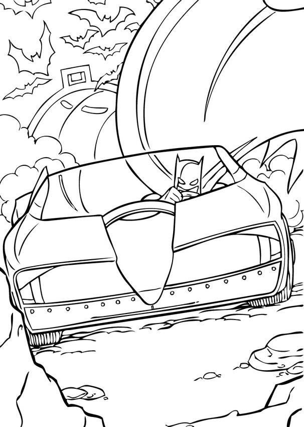 Dibujos para colorear batman en su batmóvil - es.hellokids.com