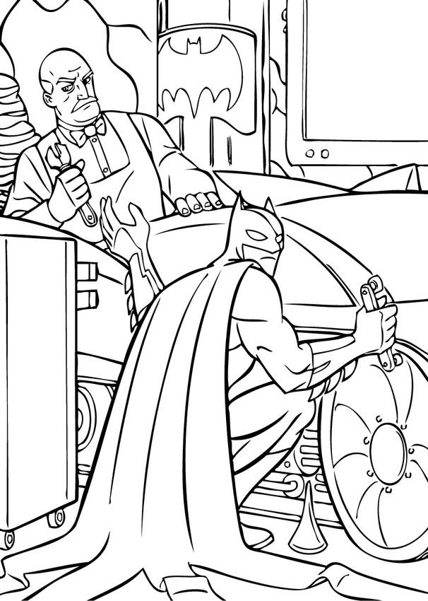Dibujos para colorear batman y alfred reparando el ...