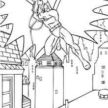 Batman saltando en los techos de Gotham - Dibujos para Colorear y Pintar - Dibujos para colorear SUPERHEROES - Dibujos para colorear BATMAN - Dibujos para colorear GOTHAM CITY