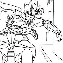 Dibujo para colorear : Batman saliendo del Batimóvil