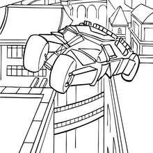 Dibujo para colorear : El Batimovil en los techos de Gotham