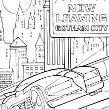 Dibujo para colorear : la Batmóvil en las calles de Gotham