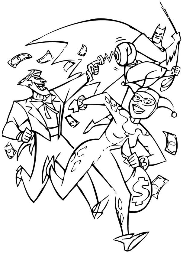 Dibujo para colorear : Joker, Batman y el Sombrerero Loco