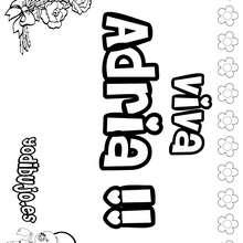 ADRIA colorear nombre niña - Dibujos para Colorear y Pintar - Dibujos para colorear NOMBRES - Dibujos para colorear NOMBRES NIÑAS