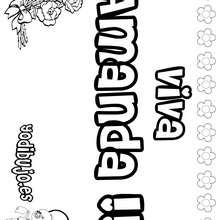 AMANDA colorear nombre niña - Dibujos para Colorear y Pintar - Dibujos para colorear NOMBRES - Dibujos para colorear NOMBRES NIÑAS