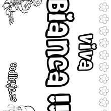 BIANCA colorear nombre niña - Dibujos para Colorear y Pintar - Dibujos para colorear NOMBRES - Dibujos para colorear NOMBRES NIÑAS