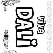 DALI colorear nombres niñas - Dibujos para Colorear y Pintar - Dibujos para colorear NOMBRES - Dibujos para colorear NOMBRES NIÑAS