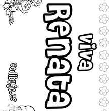RENATA colorear nombres niñas - Dibujos para Colorear y Pintar - Dibujos para colorear NOMBRES - Dibujos para colorear NOMBRES NIÑAS