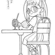 Hazuki leyendo - Dibujos para Colorear y Pintar - Dibujos para colorear MANGA - Dibujos para colorear MAGICAL DOREMI - Dibujos para colorear de MAGICAL DOREMI ESPAÑOL