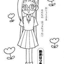 Hazuki con sus gafas - Dibujos para Colorear y Pintar - Dibujos para colorear MANGA - Dibujos para colorear MAGICAL DOREMI - Dibujos para colorear gratis MAGICAL DOREMI