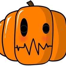 Máscara de calabaza - Manualidades para niños - MASCARAS infantiles - Mascaras Halloween para niños