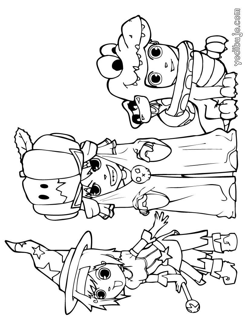 Dibujo para colorear : amigos disfrazados para Halloween