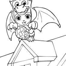 Dibujo para colorear : dragón para Halloween