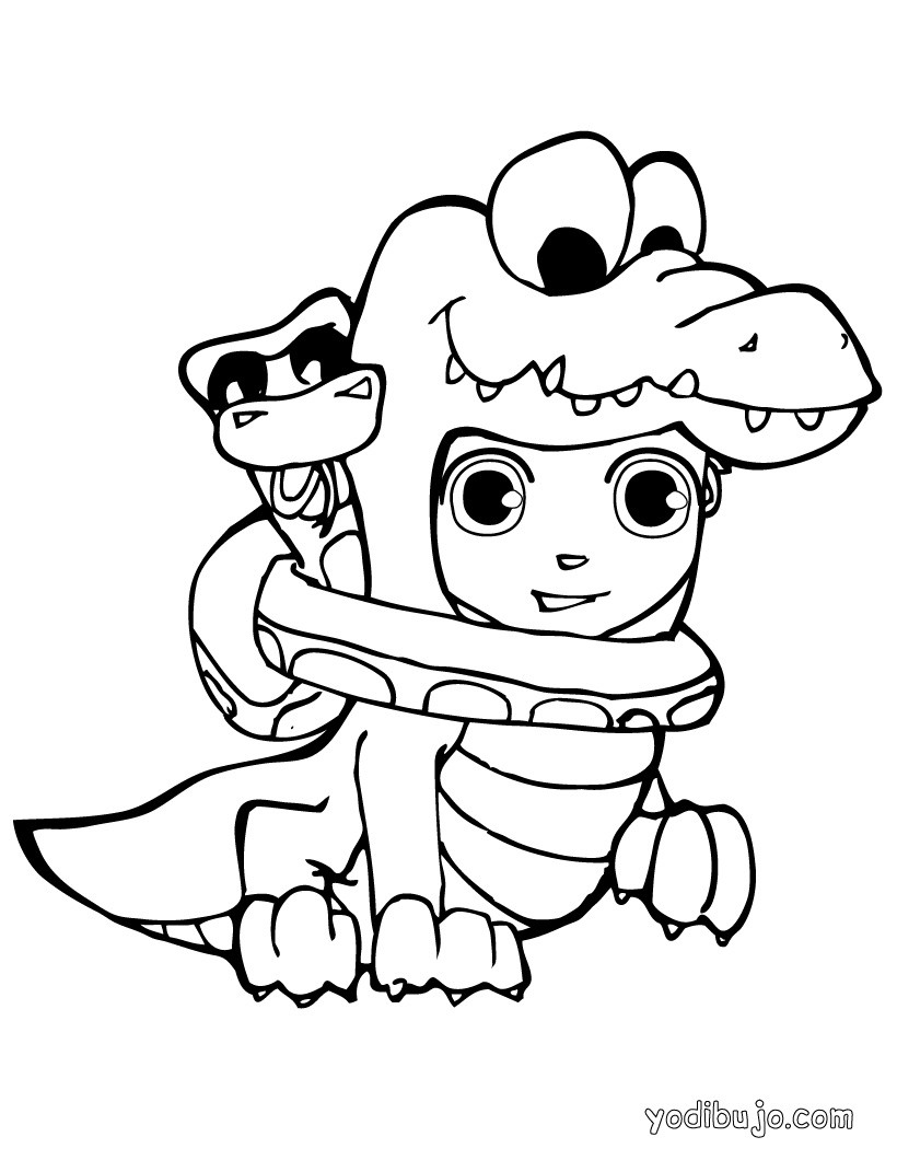Dibujos para colorear un monstruo animal de halloween - es.hellokids.com