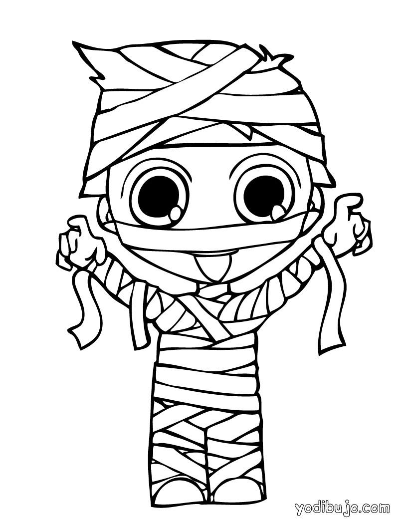Dibujo para colorear : momia para Halloween