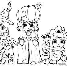 Dibujo de amigos disfrazados para Halloween - Dibujos para Colorear y Pintar - Dibujos para colorear FIESTAS - Dibujos para colorear HALLOWEEN - Dibujos para colorear DISFRACES HALLOWEEN NIÑOS